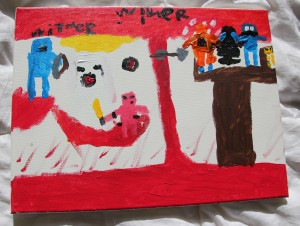 Luke's 1st painting from ArtJamz 2014-01-12