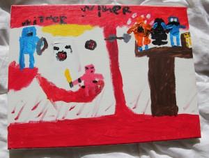 Luke's 1st painting from ArtJamz 2014-01-12