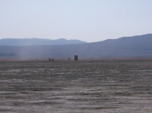 A cabinet, standing alone, in the Black Rock Desert